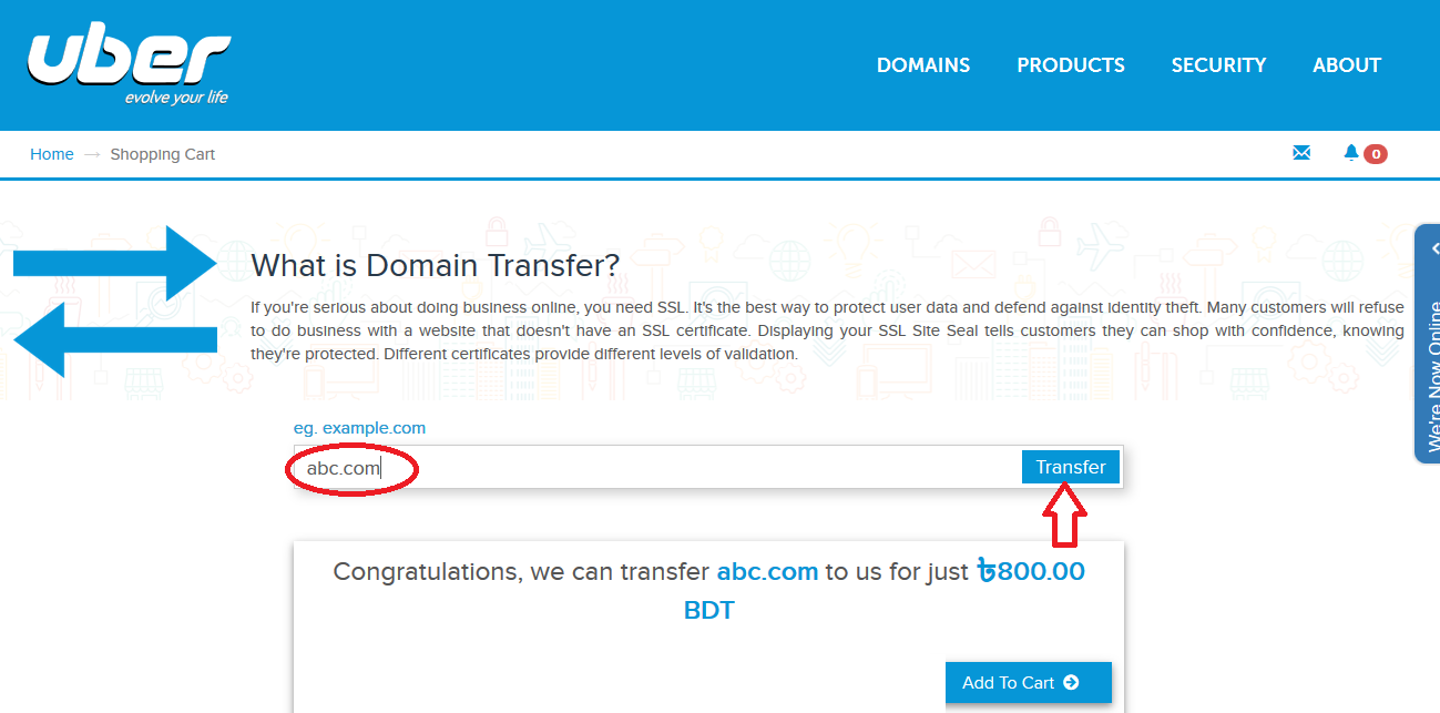 Ub3r Llc Knowledgebase How Do I Transfer My Existing Domain
